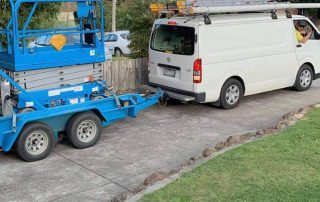 The boys on the move with the scissorlift to do some electrical work that's too high for a ladder!